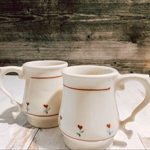 Vintage Set of 2 Boho Mini Floral Coffee Mugs
